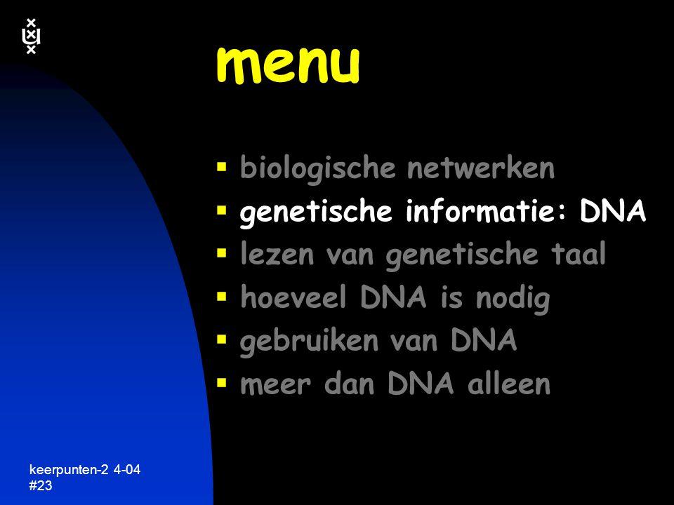 keerpunten-2 4-04 #24 DNA codering van genetische informatie keerpunten in de biologie