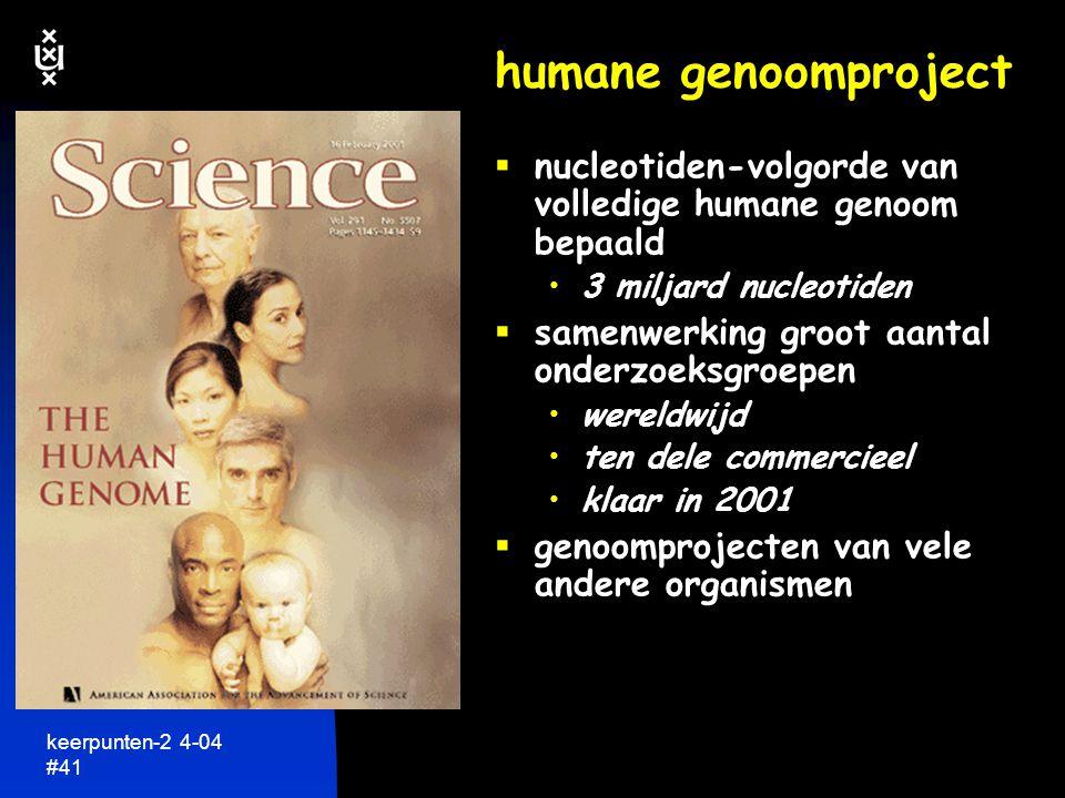 keerpunten-2 4-04 #42 menu  biologische netwerken  genetische informatie: DNA  lezen van genetische taal  hoeveel DNA is nodig  gebruiken van DNA  meer dan DNA alleen