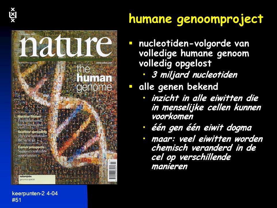 keerpunten-2 4-04 #52 het menselijk genoom  2 x 3 miljard nucleotiden in elke cel ~35.000 genen  slechts 3% van DNA zijn genen 97% van DNA heeft totaal onbekende functie....