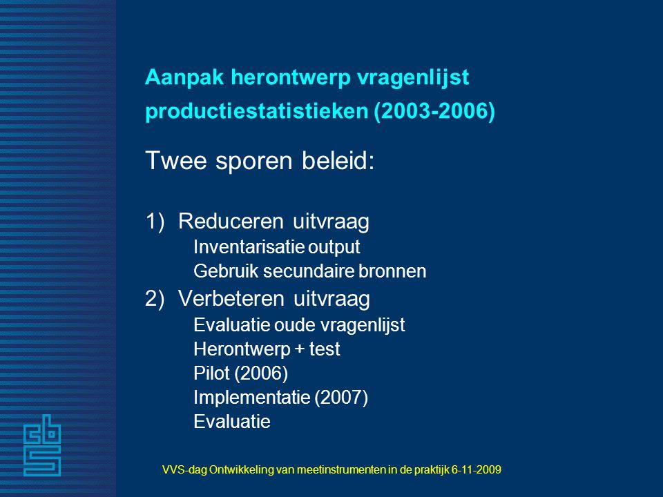 Aanpak herontwerp vragenlijst productiestatistieken (2003-2006) Twee sporen beleid: 1)Reduceren uitvraag Inventarisatie output Gebruik secundaire bron