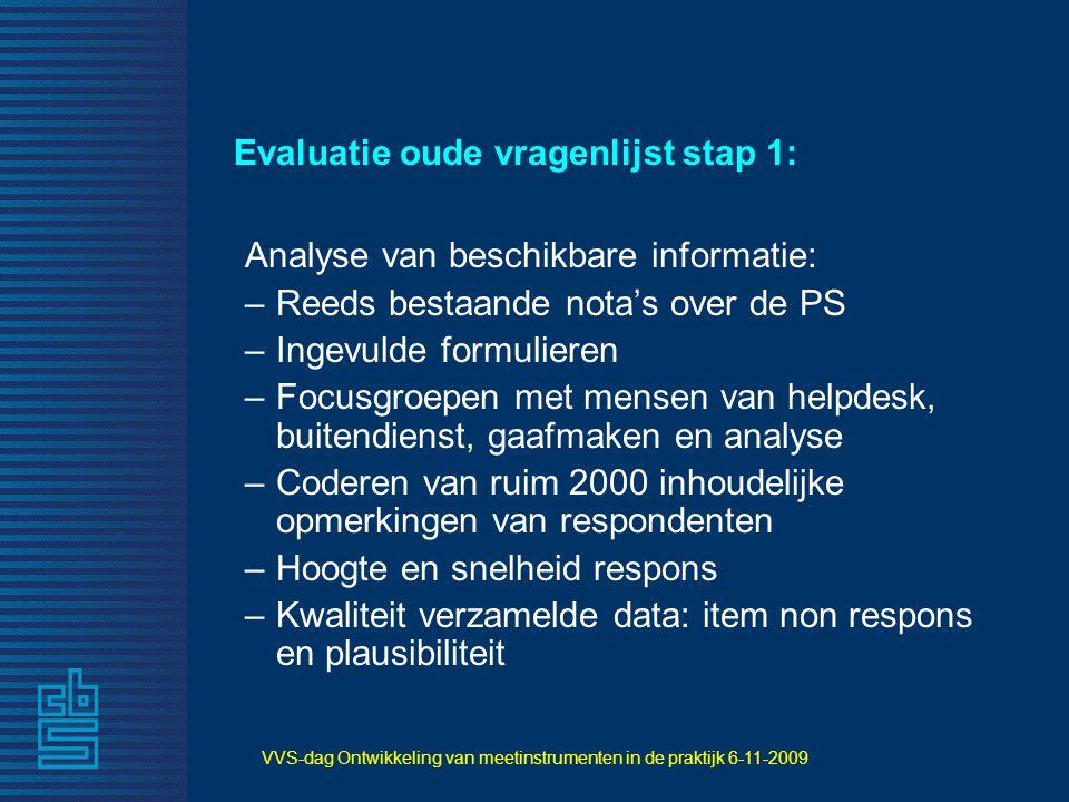 VVS-dag Ontwikkeling van meetinstrumenten in de praktijk 6-11-2009 Evaluatie oude vragenlijst stap 1: Analyse van beschikbare informatie: –Reeds besta