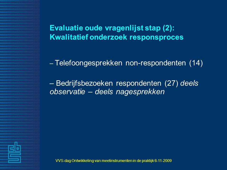 VVS-dag Ontwikkeling van meetinstrumenten in de praktijk 6-11-2009 Evaluatie oude vragenlijst stap (2): Kwalitatief onderzoek responsproces – Telefoon