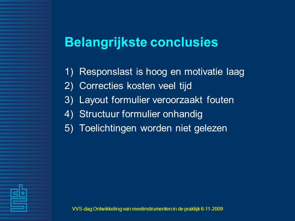 VVS-dag Ontwikkeling van meetinstrumenten in de praktijk 6-11-2009 Belangrijkste conclusies 1)Responslast is hoog en motivatie laag 2)Correcties koste