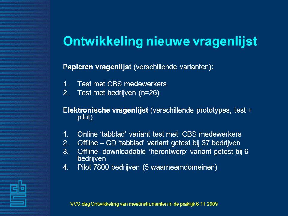 VVS-dag Ontwikkeling van meetinstrumenten in de praktijk 6-11-2009 Ontwikkeling nieuwe vragenlijst Papieren vragenlijst (verschillende varianten): 1.T