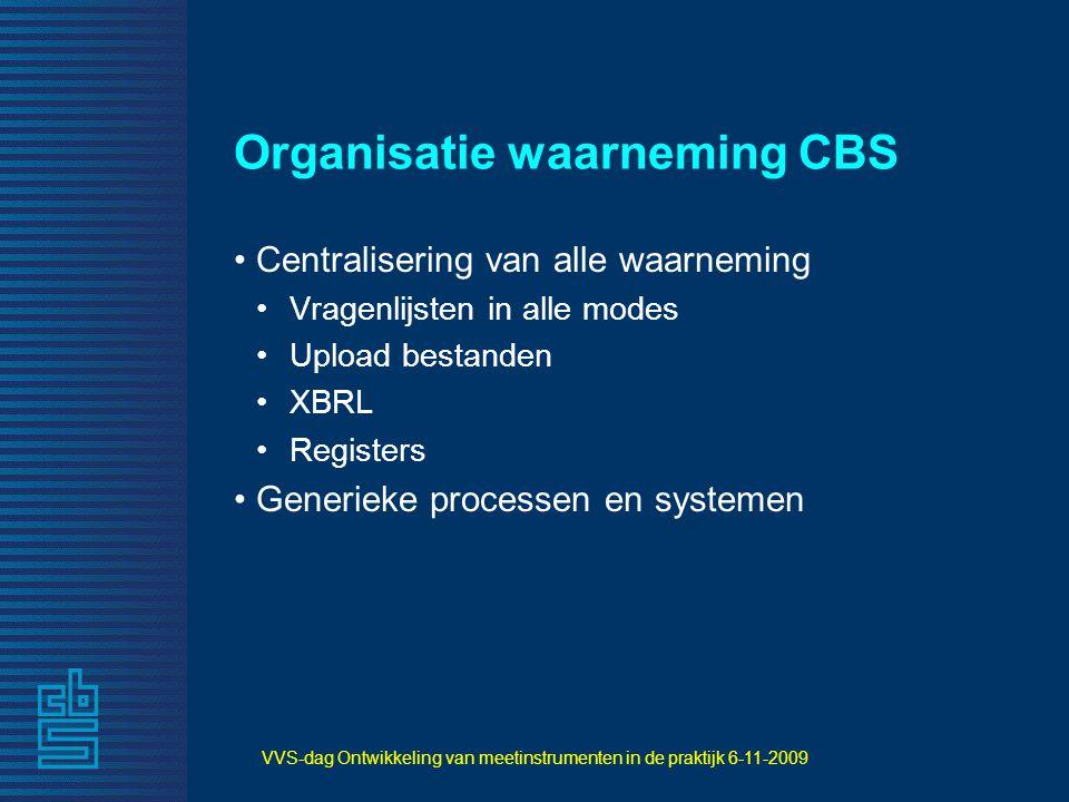 VVS-dag Ontwikkeling van meetinstrumenten in de praktijk 6-11-2009 Organisatie waarneming CBS Centralisering van alle waarneming Vragenlijsten in alle