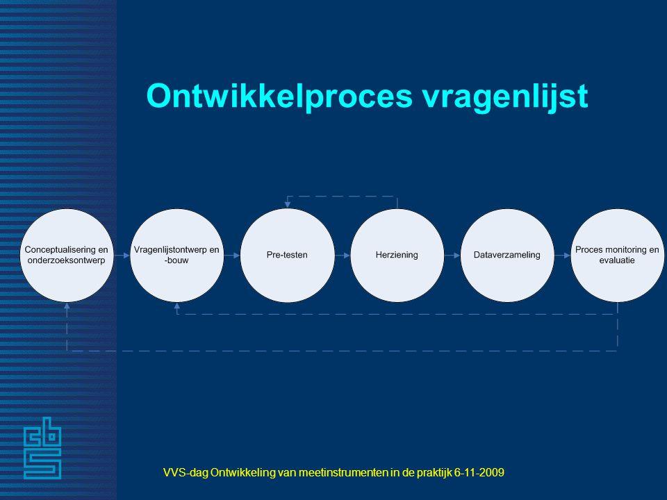 VVS-dag Ontwikkeling van meetinstrumenten in de praktijk 6-11-2009 Ontwikkelproces vragenlijst
