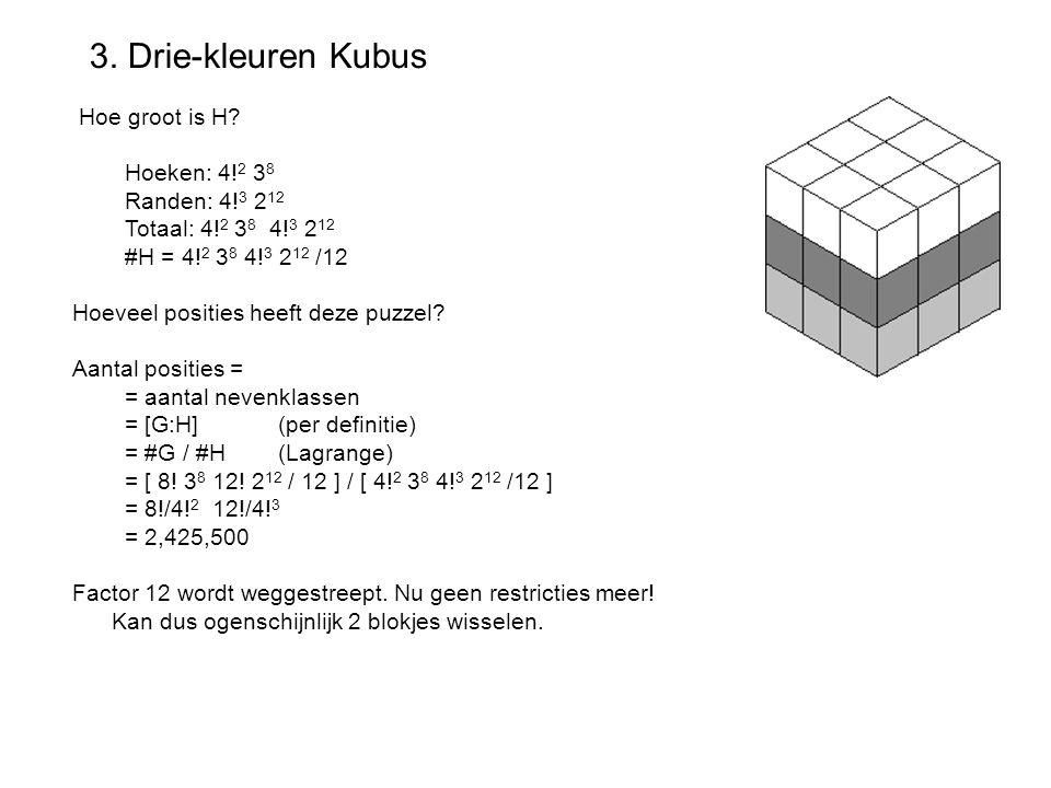 3. Drie-kleuren Kubus Hoe groot is H? Hoeken: 4! 2 3 8 Randen: 4! 3 2 12 Totaal: 4! 2 3 8 4! 3 2 12 #H = 4! 2 3 8 4! 3 2 12 /12 Hoeveel posities heeft