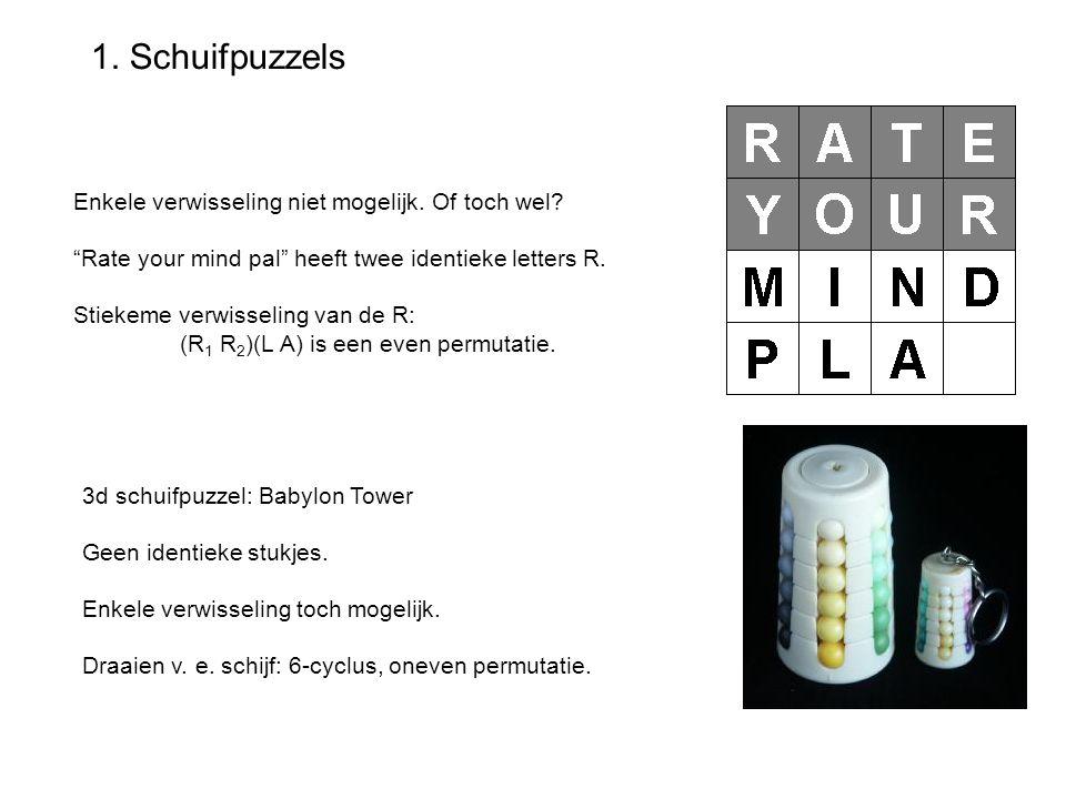 """1. Schuifpuzzels Enkele verwisseling niet mogelijk. Of toch wel? """"Rate your mind pal"""" heeft twee identieke letters R. Stiekeme verwisseling van de R:"""