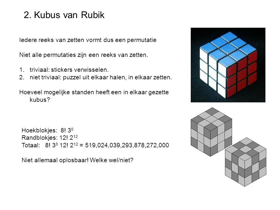 2. Kubus van Rubik Iedere reeks van zetten vormt dus een permutatie Niet alle permutaties zijn een reeks van zetten. 1.triviaal: stickers verwisselen.