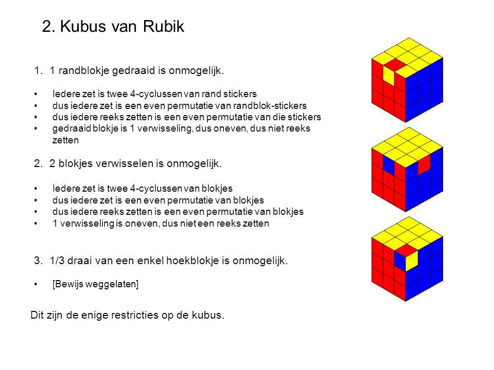 2. Kubus van Rubik 1. 1 randblokje gedraaid is onmogelijk. Iedere zet is twee 4-cyclussen van rand stickers dus iedere zet is een even permutatie van