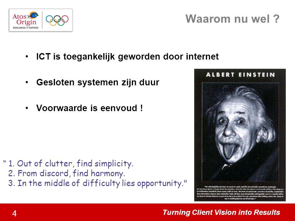 """Turning Client Vision into Results 4 Waarom nu wel ? ICT is toegankelijk geworden door internet Gesloten systemen zijn duur Voorwaarde is eenvoud ! """""""