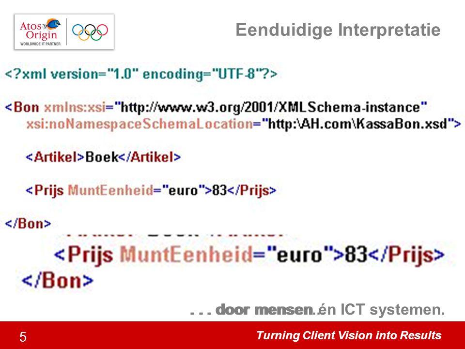 Turning Client Vision into Results 6 Het succes van XML Onafhankelijk –W3C recommendation Internationaal –Internettaal; URL gebaseerd Eenvoud –Syntax –Hiërarchische Samenhang Extensible –Flexibele Woordenboeken Domeinen –Business initiatieven
