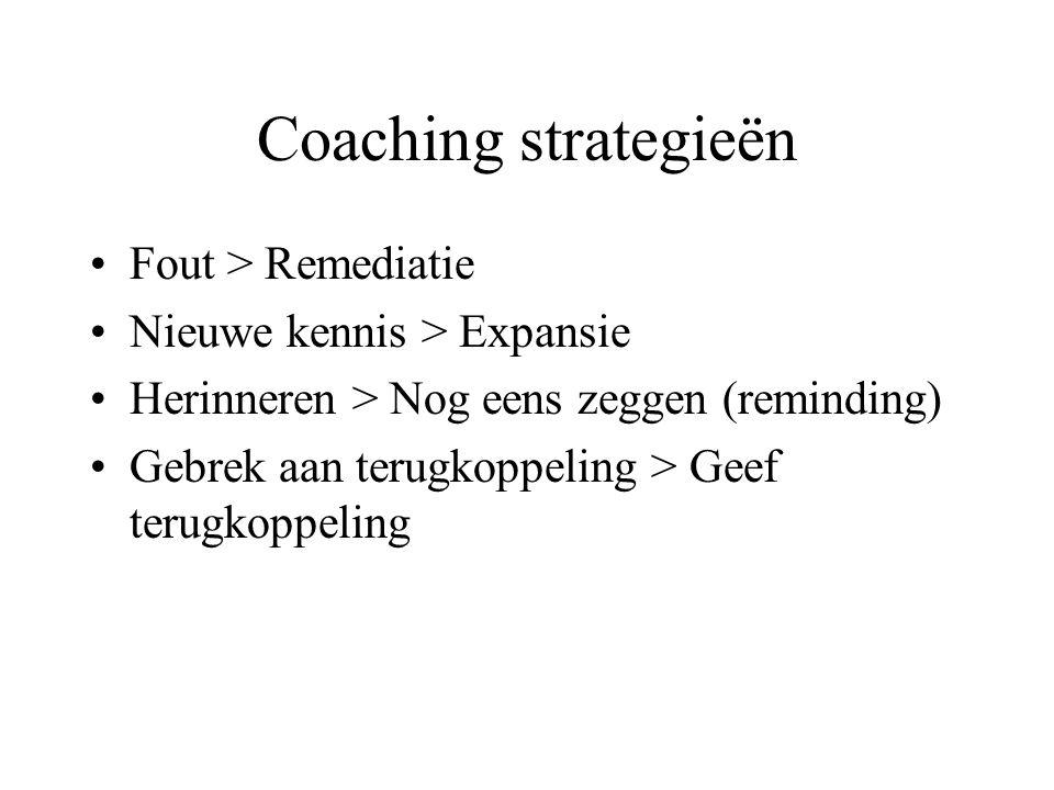 Coaching strategieën Fout > Remediatie Nieuwe kennis > Expansie Herinneren > Nog eens zeggen (reminding) Gebrek aan terugkoppeling > Geef terugkoppeling
