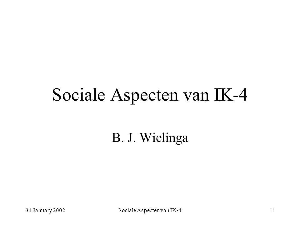 31 January 2002Sociale Aspecten van IK-41 B. J. Wielinga