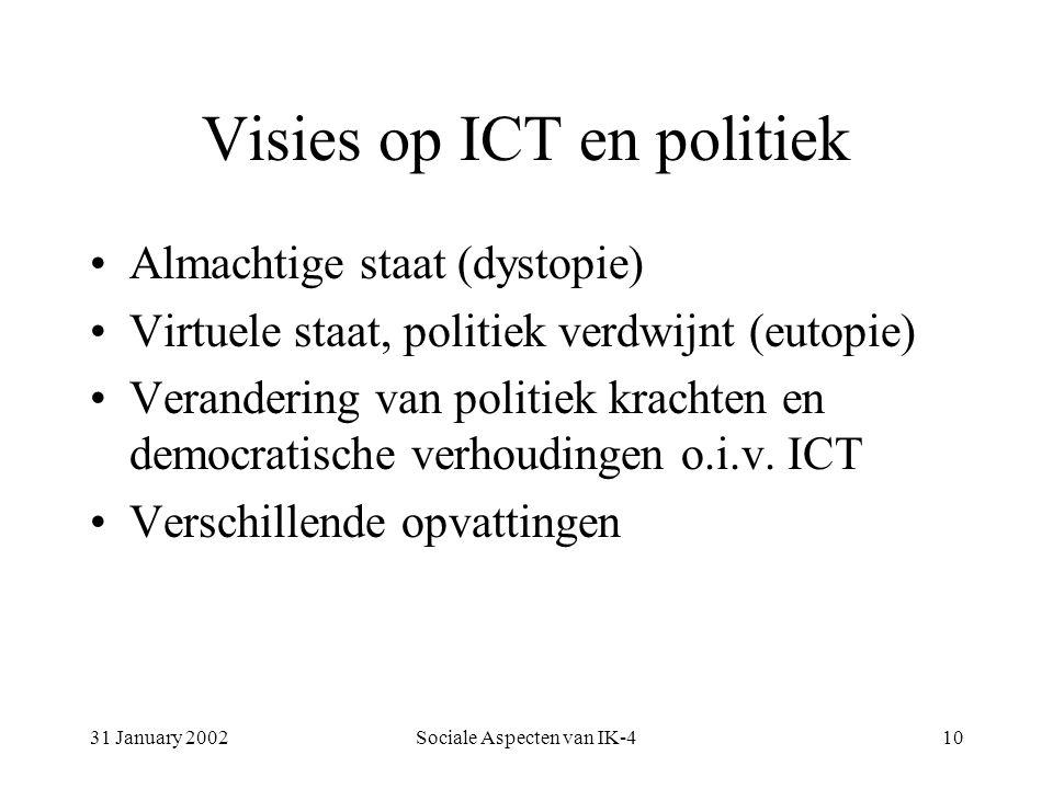 31 January 2002Sociale Aspecten van IK-410 Visies op ICT en politiek Almachtige staat (dystopie) Virtuele staat, politiek verdwijnt (eutopie) Verandering van politiek krachten en democratische verhoudingen o.i.v.