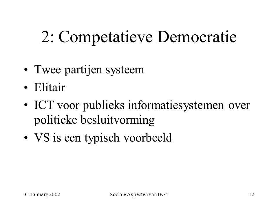 31 January 2002Sociale Aspecten van IK-412 2: Competatieve Democratie Twee partijen systeem Elitair ICT voor publieks informatiesystemen over politieke besluitvorming VS is een typisch voorbeeld
