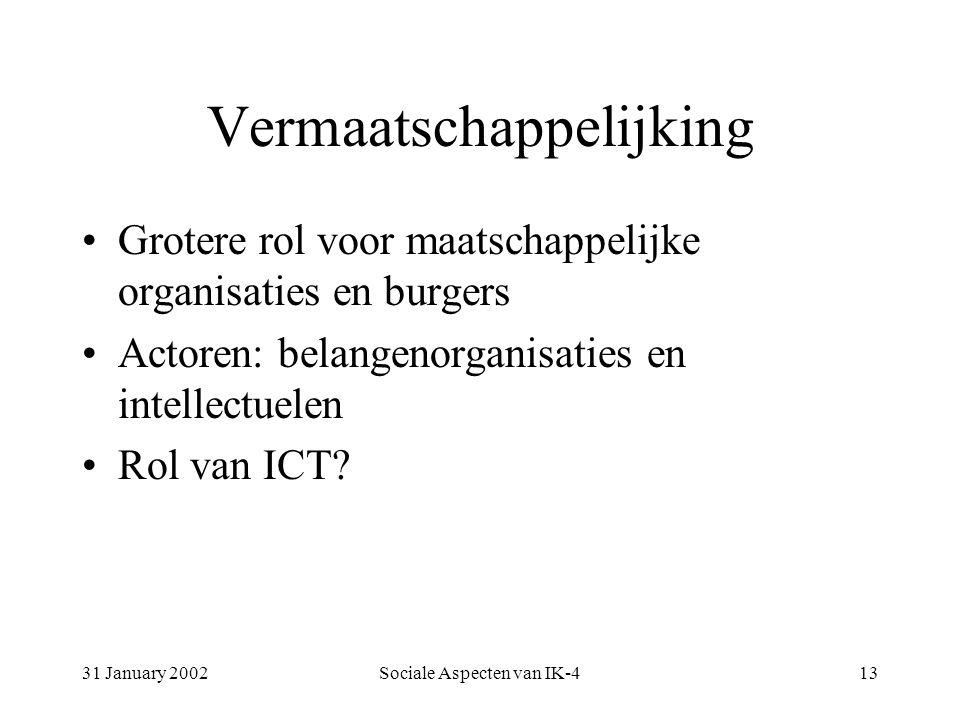 31 January 2002Sociale Aspecten van IK-413 Vermaatschappelijking Grotere rol voor maatschappelijke organisaties en burgers Actoren: belangenorganisaties en intellectuelen Rol van ICT