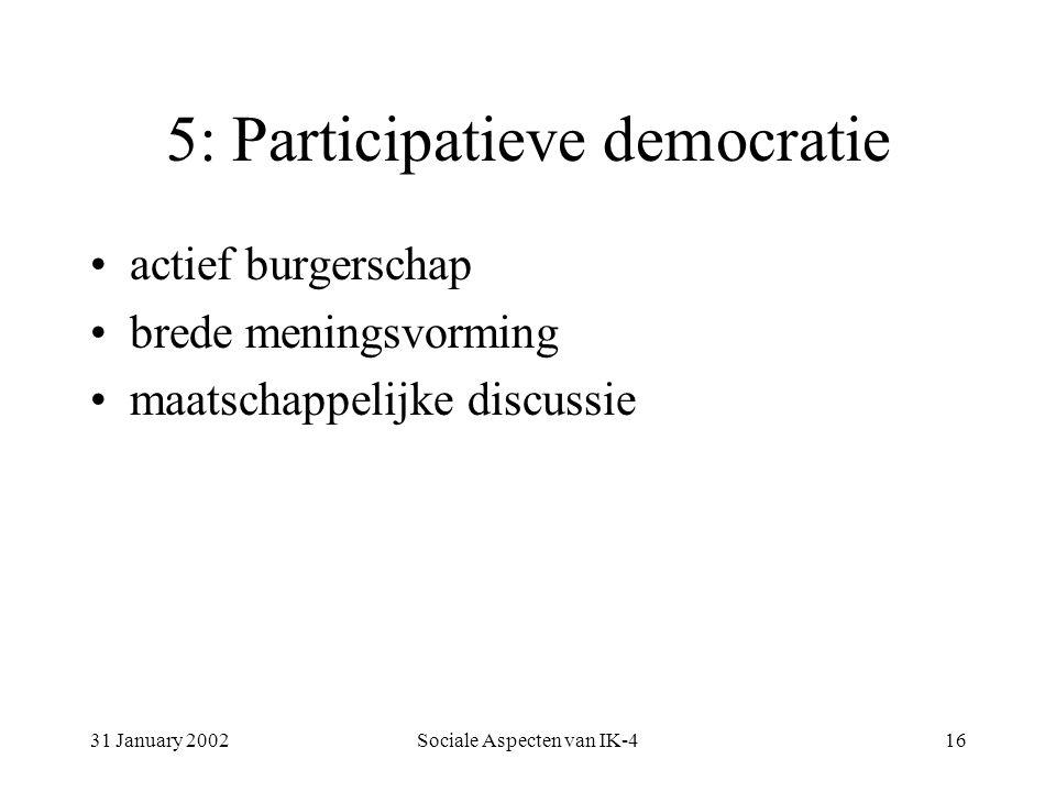 31 January 2002Sociale Aspecten van IK-416 5: Participatieve democratie actief burgerschap brede meningsvorming maatschappelijke discussie