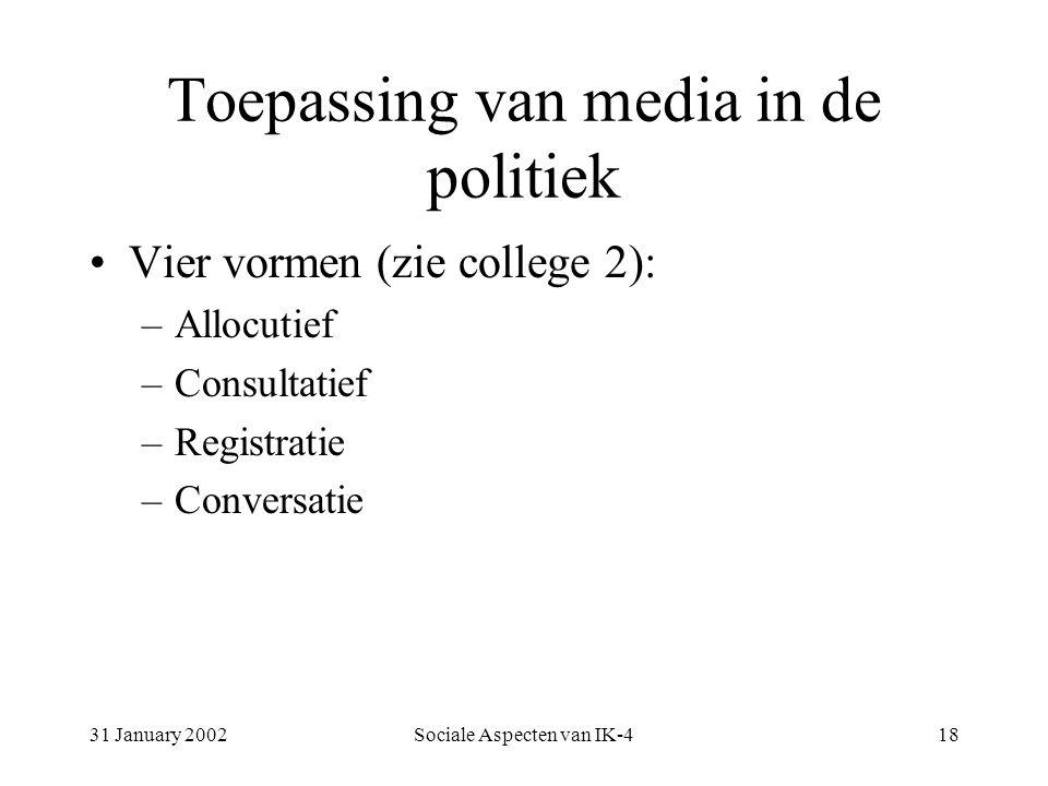 31 January 2002Sociale Aspecten van IK-418 Toepassing van media in de politiek Vier vormen (zie college 2): –Allocutief –Consultatief –Registratie –Conversatie