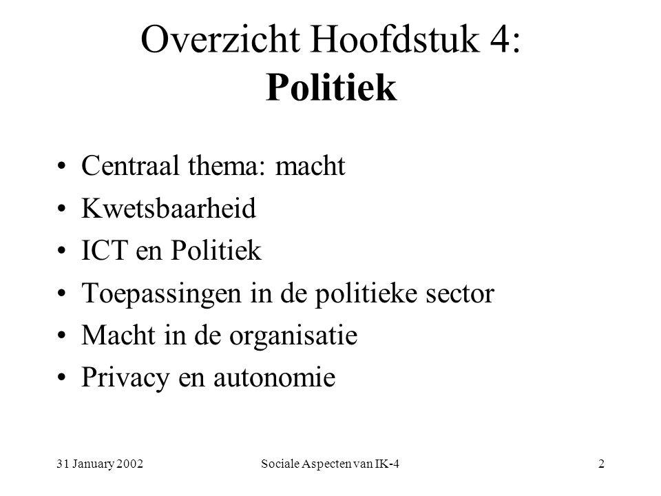31 January 2002Sociale Aspecten van IK-42 Overzicht Hoofdstuk 4: Politiek Centraal thema: macht Kwetsbaarheid ICT en Politiek Toepassingen in de politieke sector Macht in de organisatie Privacy en autonomie
