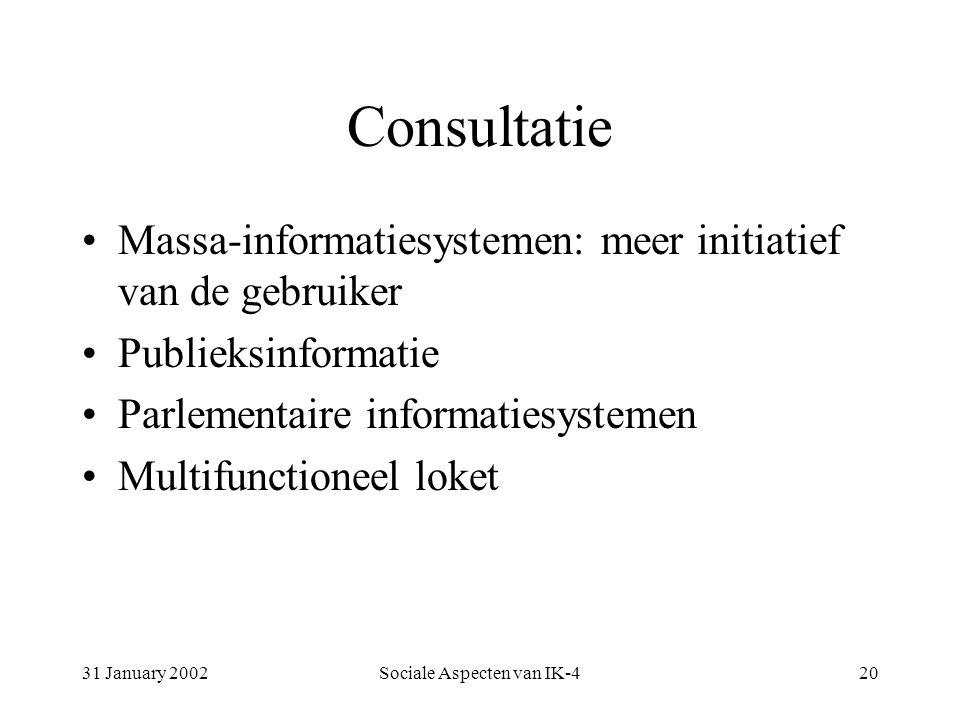 31 January 2002Sociale Aspecten van IK-420 Consultatie Massa-informatiesystemen: meer initiatief van de gebruiker Publieksinformatie Parlementaire informatiesystemen Multifunctioneel loket