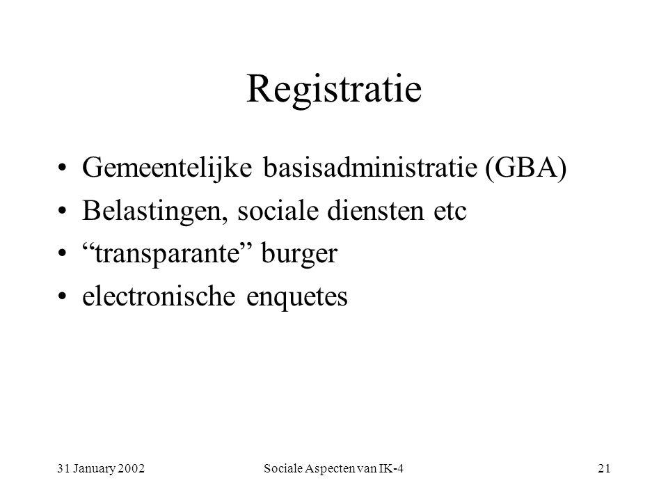 31 January 2002Sociale Aspecten van IK-421 Registratie Gemeentelijke basisadministratie (GBA) Belastingen, sociale diensten etc transparante burger electronische enquetes