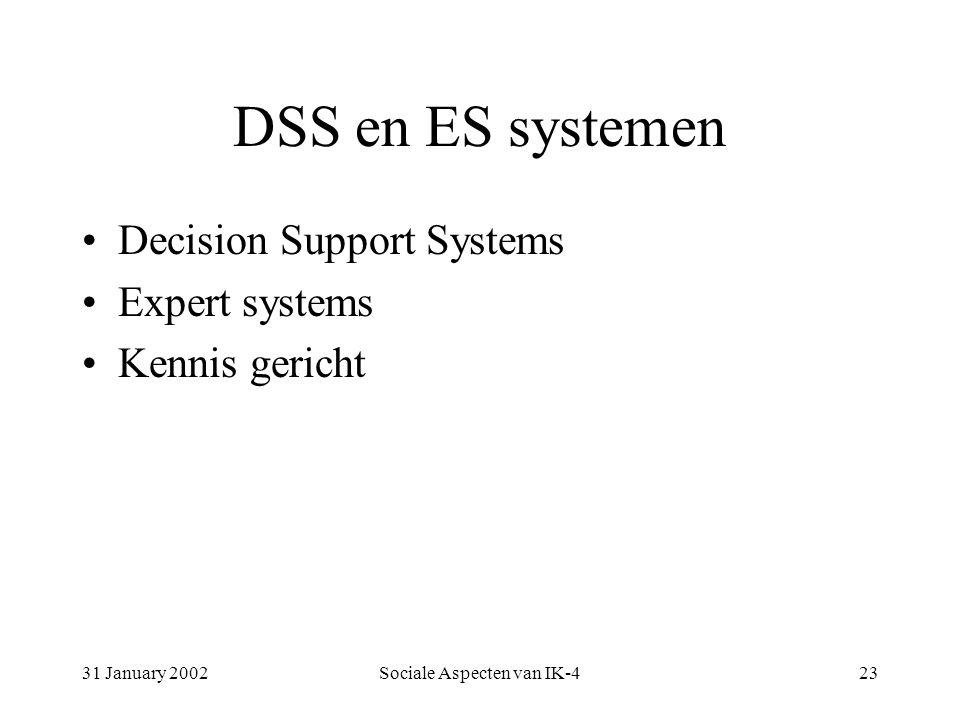 31 January 2002Sociale Aspecten van IK-423 DSS en ES systemen Decision Support Systems Expert systems Kennis gericht