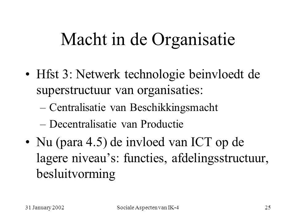 31 January 2002Sociale Aspecten van IK-425 Macht in de Organisatie Hfst 3: Netwerk technologie beinvloedt de superstructuur van organisaties: –Centralisatie van Beschikkingsmacht –Decentralisatie van Productie Nu (para 4.5) de invloed van ICT op de lagere niveau's: functies, afdelingsstructuur, besluitvorming