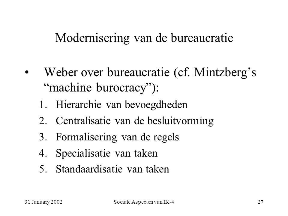 31 January 2002Sociale Aspecten van IK-427 Modernisering van de bureaucratie Weber over bureaucratie (cf.