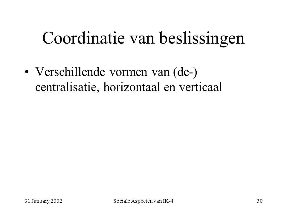 31 January 2002Sociale Aspecten van IK-430 Coordinatie van beslissingen Verschillende vormen van (de-) centralisatie, horizontaal en verticaal