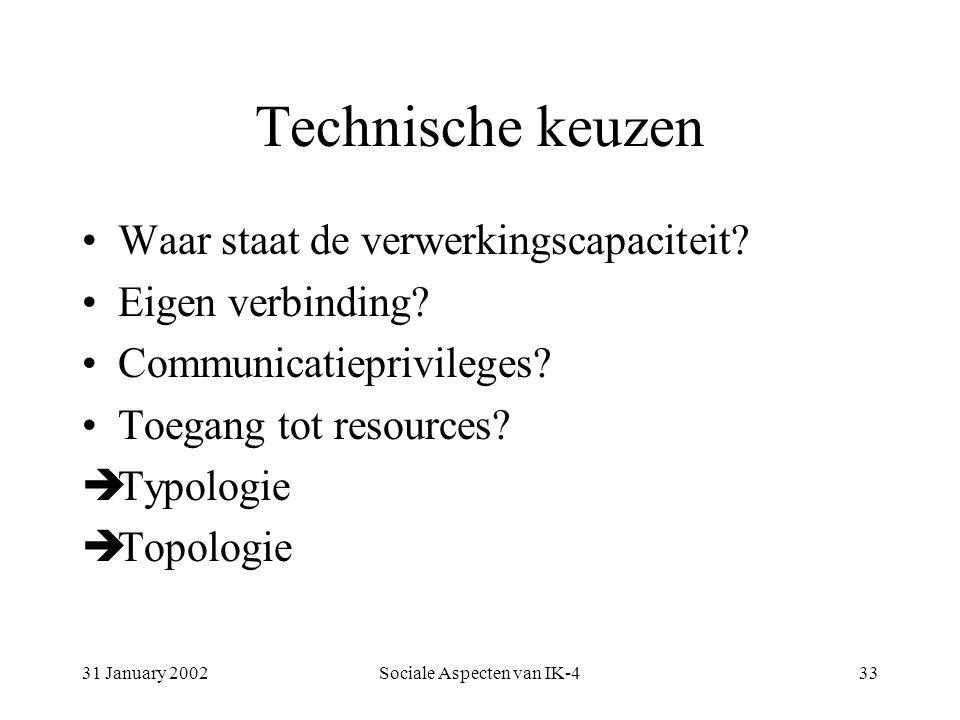 31 January 2002Sociale Aspecten van IK-433 Technische keuzen Waar staat de verwerkingscapaciteit.