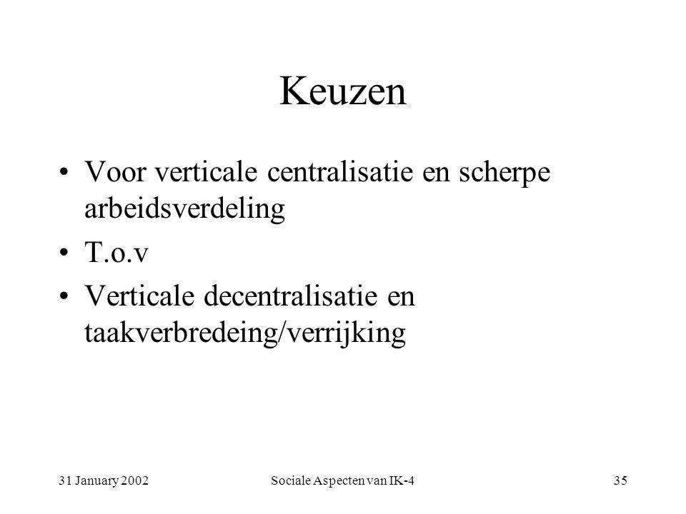 31 January 2002Sociale Aspecten van IK-435 Keuzen Voor verticale centralisatie en scherpe arbeidsverdeling T.o.v Verticale decentralisatie en taakverbredeing/verrijking