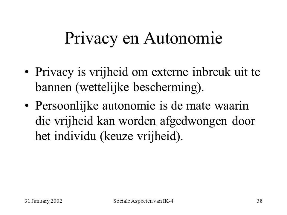 31 January 2002Sociale Aspecten van IK-438 Privacy en Autonomie Privacy is vrijheid om externe inbreuk uit te bannen (wettelijke bescherming).