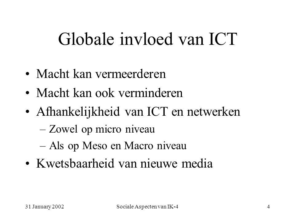 31 January 2002Sociale Aspecten van IK-44 Globale invloed van ICT Macht kan vermeerderen Macht kan ook verminderen Afhankelijkheid van ICT en netwerken –Zowel op micro niveau –Als op Meso en Macro niveau Kwetsbaarheid van nieuwe media