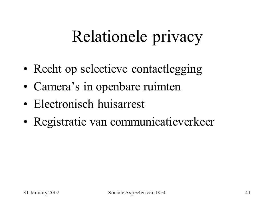 31 January 2002Sociale Aspecten van IK-441 Relationele privacy Recht op selectieve contactlegging Camera's in openbare ruimten Electronisch huisarrest Registratie van communicatieverkeer