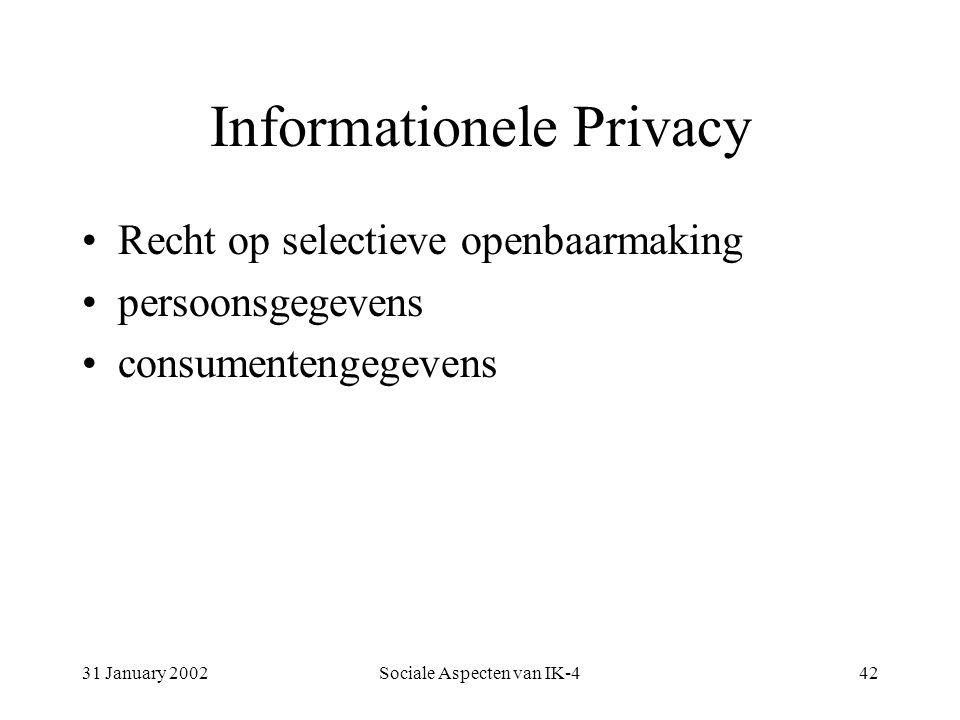 31 January 2002Sociale Aspecten van IK-442 Informationele Privacy Recht op selectieve openbaarmaking persoonsgegevens consumentengegevens