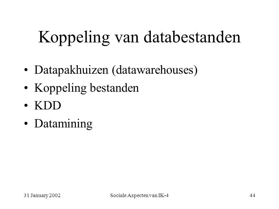31 January 2002Sociale Aspecten van IK-444 Koppeling van databestanden Datapakhuizen (datawarehouses) Koppeling bestanden KDD Datamining
