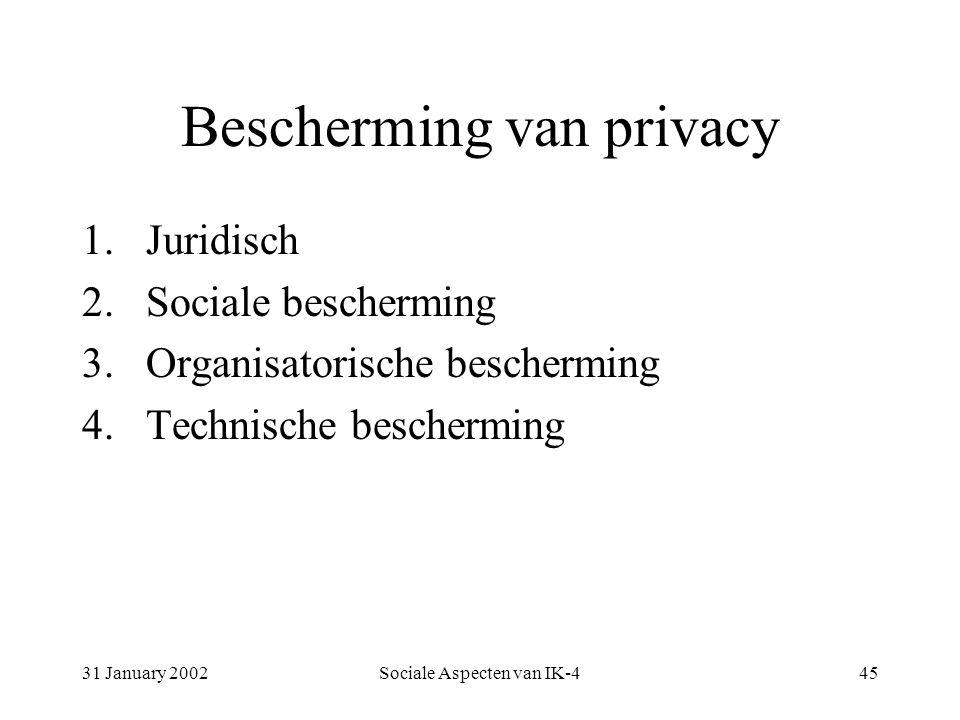 31 January 2002Sociale Aspecten van IK-445 Bescherming van privacy 1.Juridisch 2.Sociale bescherming 3.Organisatorische bescherming 4.Technische bescherming