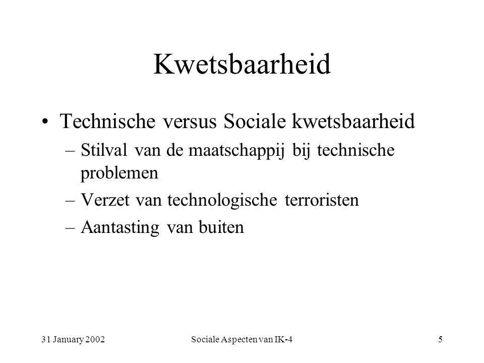 31 January 2002Sociale Aspecten van IK-45 Kwetsbaarheid Technische versus Sociale kwetsbaarheid –Stilval van de maatschappij bij technische problemen –Verzet van technologische terroristen –Aantasting van buiten