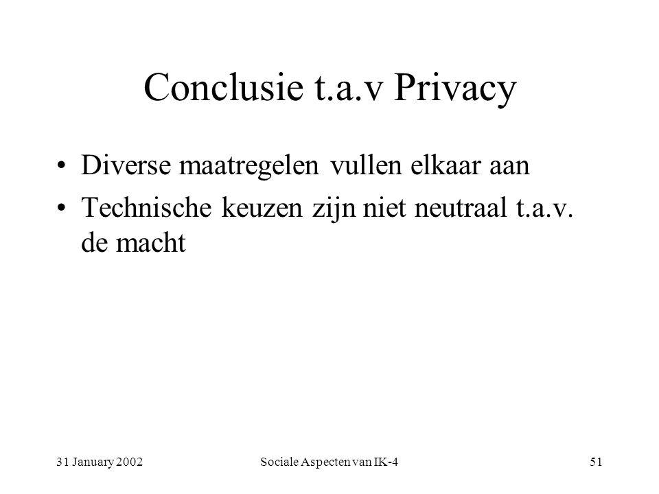 31 January 2002Sociale Aspecten van IK-451 Conclusie t.a.v Privacy Diverse maatregelen vullen elkaar aan Technische keuzen zijn niet neutraal t.a.v.