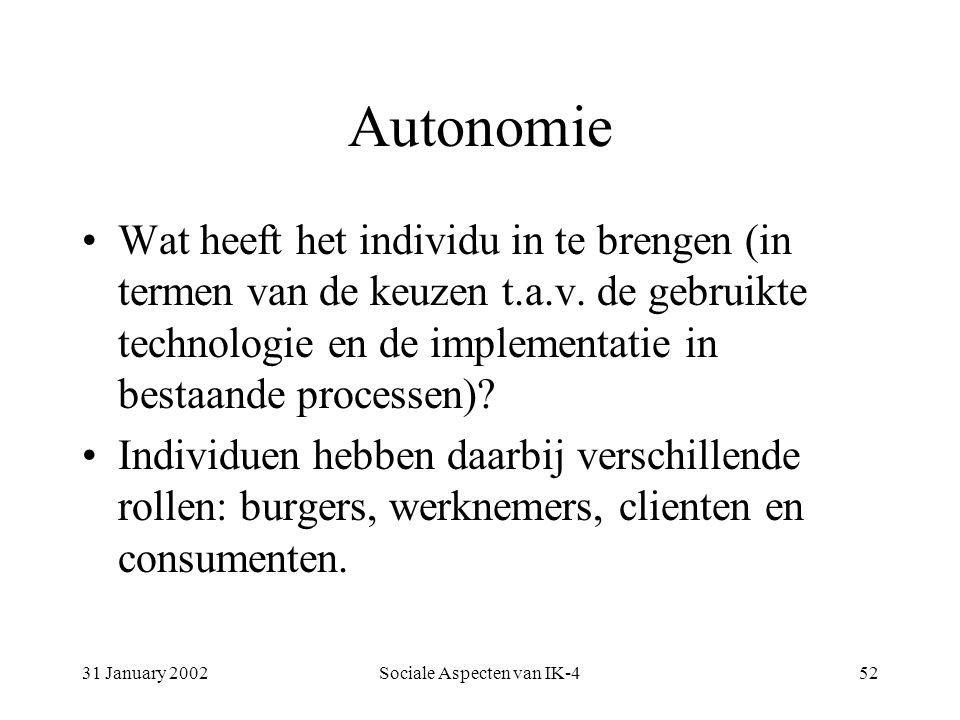31 January 2002Sociale Aspecten van IK-452 Autonomie Wat heeft het individu in te brengen (in termen van de keuzen t.a.v.