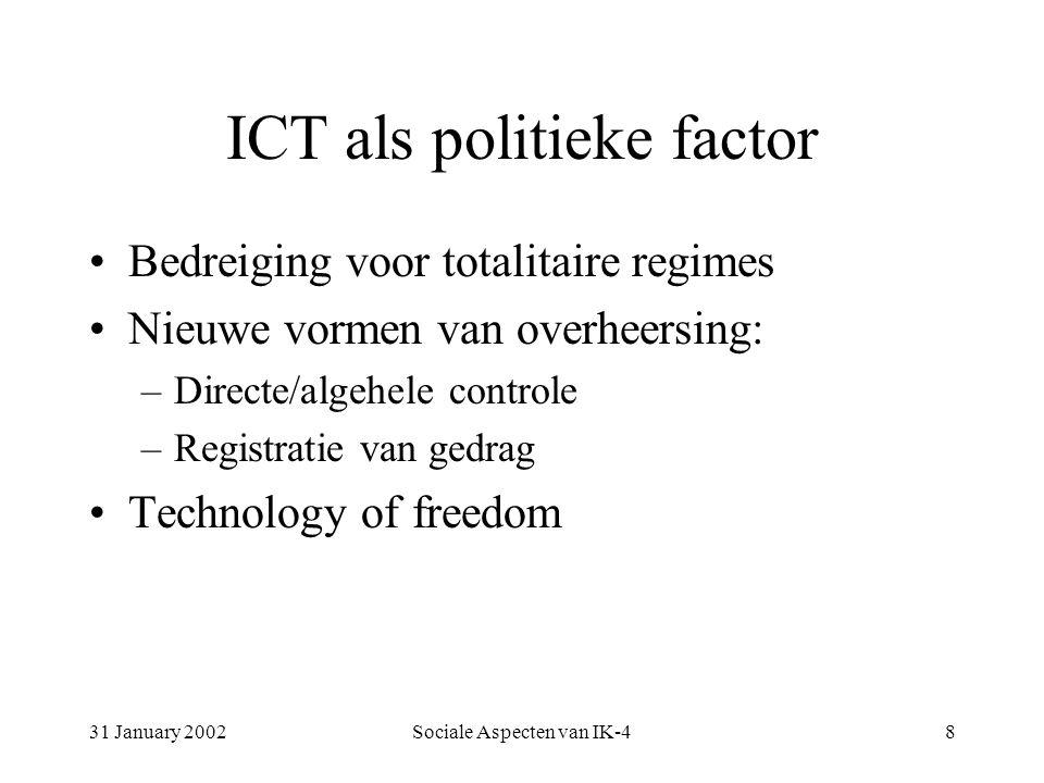31 January 2002Sociale Aspecten van IK-48 ICT als politieke factor Bedreiging voor totalitaire regimes Nieuwe vormen van overheersing: –Directe/algehele controle –Registratie van gedrag Technology of freedom