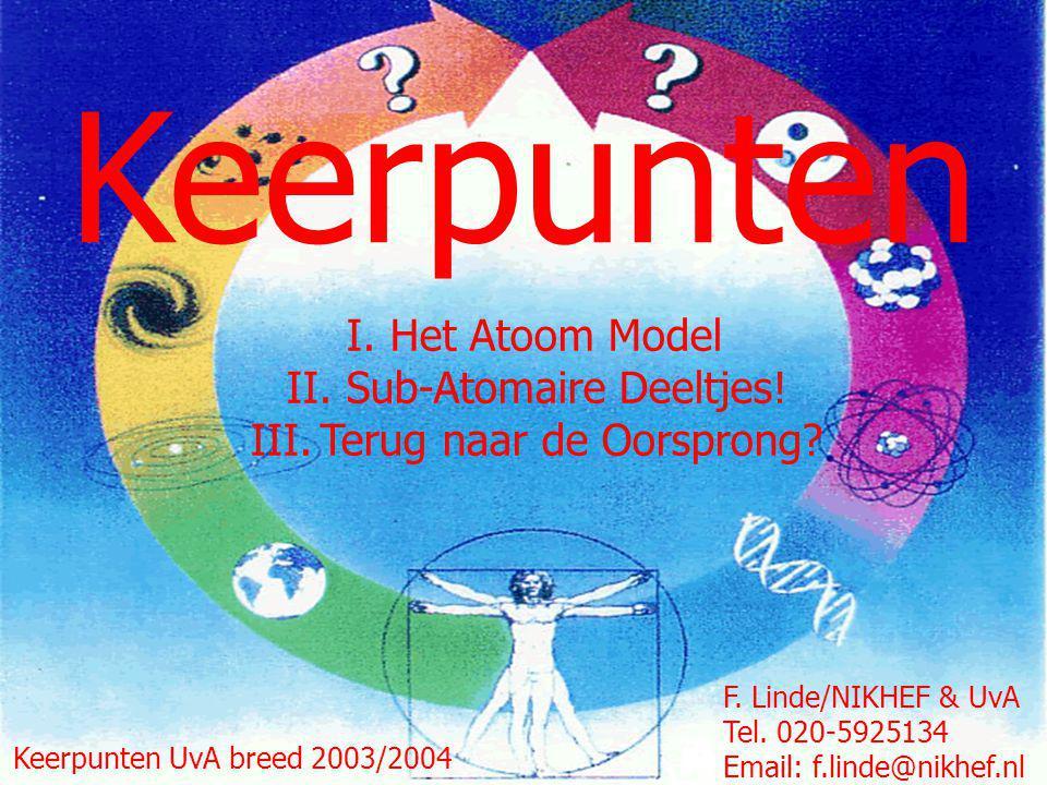 1 Keerpunten F. Linde/NIKHEF & UvA Tel. 020-5925134 Email: f.linde@nikhef.nl Keerpunten UvA breed 2003/2004 I. Het Atoom Model II. Sub-Atomaire Deeltj