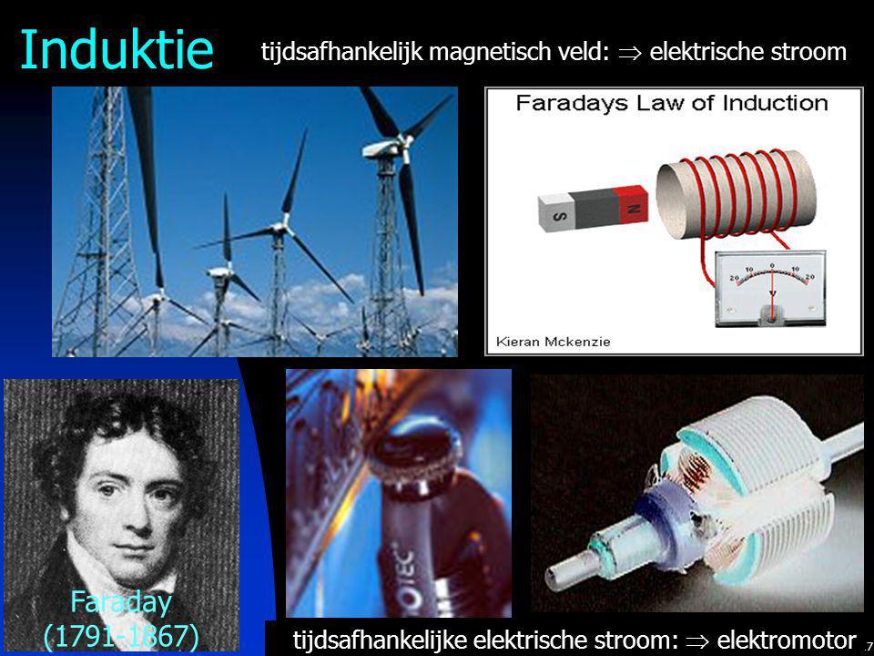 17 tijdsafhankelijke elektrische stroom:  elektromotor tijdsafhankelijk magnetisch veld:  elektrische stroom Faraday (1791-1867) Induktie