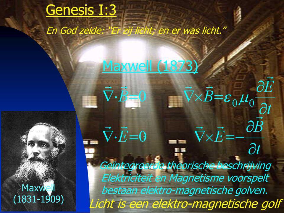 18 Genesis I:3 En God zeide: Er zij licht; en er was licht. Maxwell (1873) Maxwell (1831-1909) Geïntegreerde theorische beschrijving Elektriciteit en Magnetisme voorspelt bestaan elektro-magnetische golven.