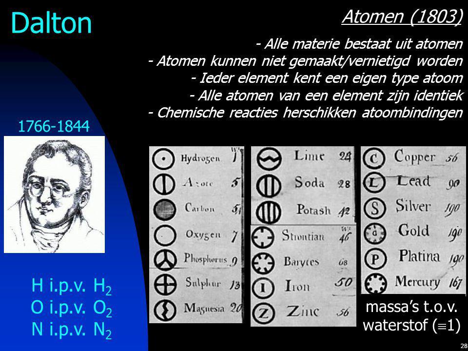 28 Dalton 1766-1844 Atomen (1803) - Alle materie bestaat uit atomen - Atomen kunnen niet gemaakt/vernietigd worden - Ieder element kent een eigen type atoom - Alle atomen van een element zijn identiek - Chemische reacties herschikken atoombindingen H i.p.v.