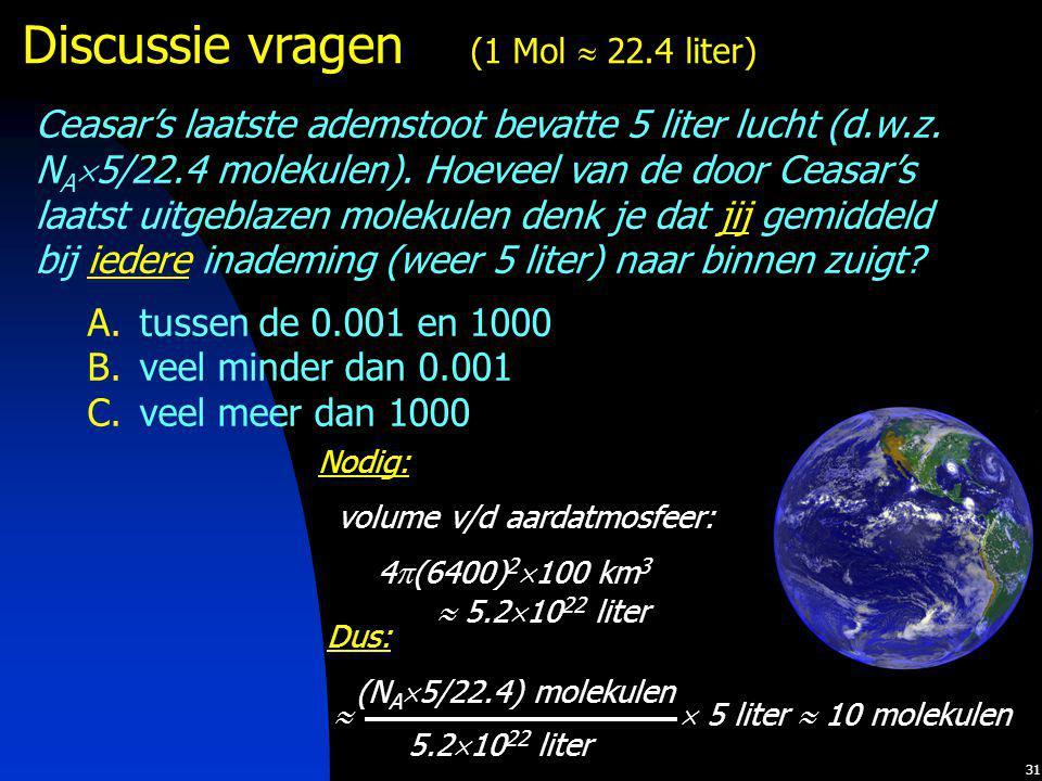 31 Discussie vragen (1 Mol  22.4 liter) Ceasar's laatste ademstoot bevatte 5 liter lucht (d.w.z. N A  5/22.4 molekulen). Hoeveel van de door Ceasar'