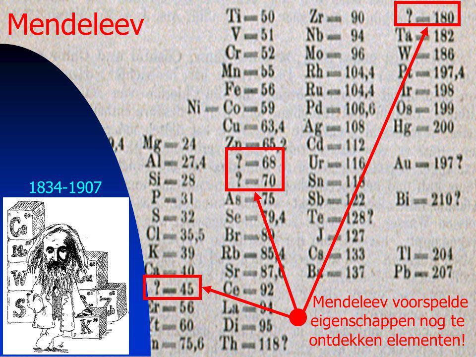 32 1834-1907 Mendeleev Mendeleev voorspelde eigenschappen nog te ontdekken elementen!