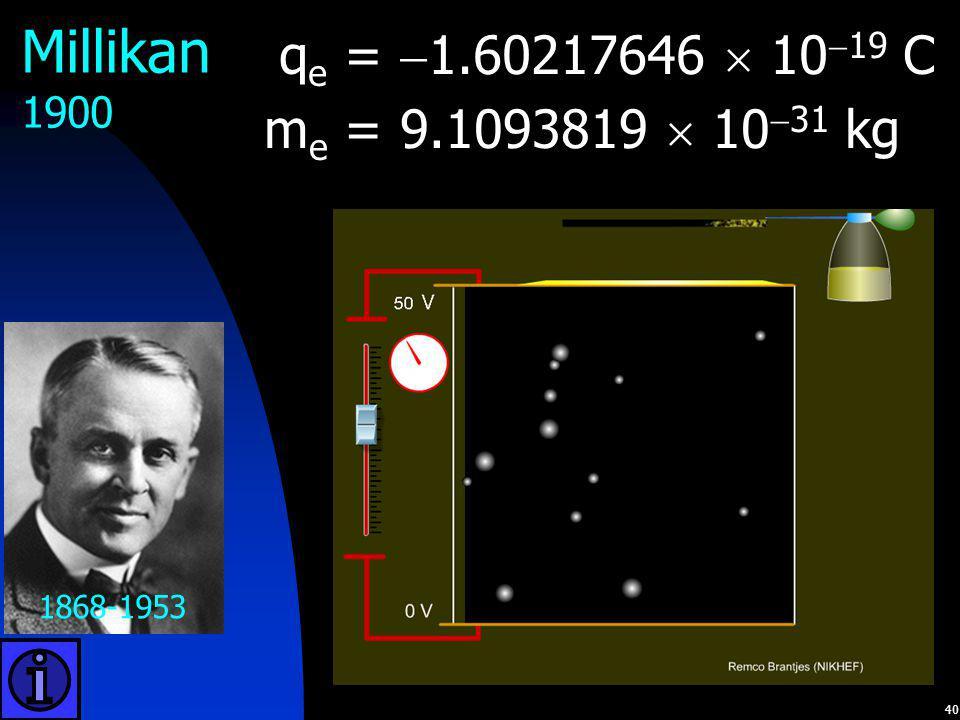 40 1868-1953 Millikan 1900 q e =  1.60217646  10  19 C m e = 9.1093819  10  31 kg