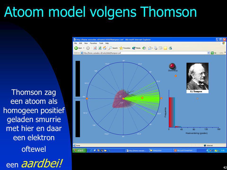 42 Atoom model volgens Thomson Thomson zag een atoom als homogeen positief geladen smurrie met hier en daar een elektron oftewel een aardbei!